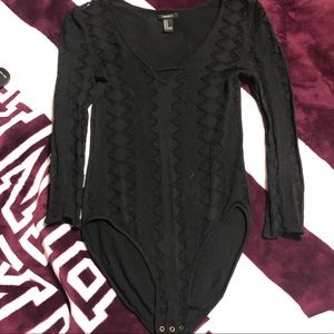 Black mesh/sheer quarter sleeve BODYSUIT